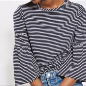 Topshop Navy blue & white striped top bell sleeves